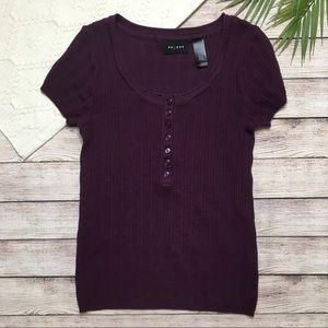3/$30 Axcess Plum Purple Short Sleeve Top